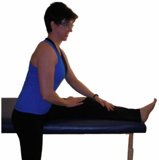 hamstring stretch on table/bed